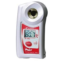 Atago 3820 Digital Hand Held Pocket Refractometer, 45.0 - 93.0% Brix Measurement Range