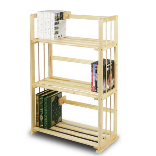 Furinno FNCL-33001 Pine Solid Wood 3-Tier Bookshelf Narrow 3 Shelf Bookcase