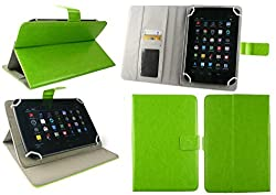 Emartbuy® Go Tech Funtab All New Tablet 7 Inch Universal Range Green Multi Angle Executive Folio Wallet Case Cover With Card Slots + Green Stylus