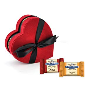 Ghirardelli Chocolate Red & Black Heart Gift Box with SQUARES Chocolates, 14 pcs