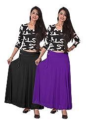 Ace Long Skirt-Black,Purple
