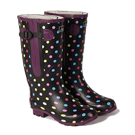 Extra Wide Fit Wellies up to 50cm Calf - Polka Dot by Jileon