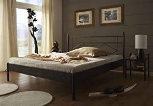 stilbetten bett metallbetten metallbett terra schwarz kupfer gewischt 200x200 cm. Black Bedroom Furniture Sets. Home Design Ideas