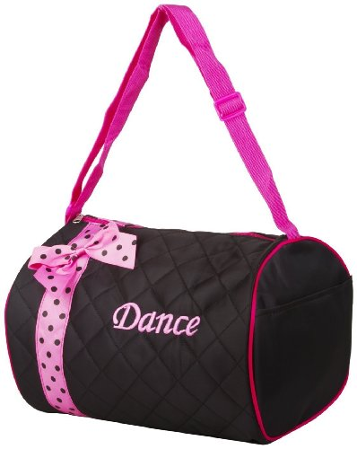 Girl's Quilted Nylon Dance Duffle Bag w/ Pink Polka Dot Bow (Black) (Quilted Duffle Bags Under $20 compare prices)
