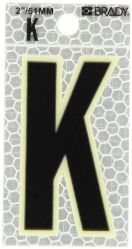 """Brady 3000-K 2-3/8"""" Height, 1-1/2"""" Width, B-309 High Intensity Prismatic Reflective Sheeting, Black And Silver Color Glow-In-The-Dark/Ultra Reflective Letter, Legend """"K"""" (Pack Of 10)"""