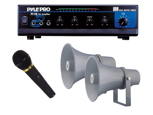 "Pyle Super Amplifier/Microphone/Speaker Package For Home/Office/Schools/Public -- Pt110 80W Ac/Dc Microphone Pa Mono Amplifier With 70V Output + Ppmik Dynamic Microphone + Pair Of Phsp101T 9.7"" Indoor/Outdoor With 70 Volt 20W Pa Horn Speaker."