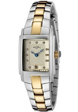 Rotary LB42830/40 Women's White Swarovski Crystal Champagne Textured Dial Two Tone Watch