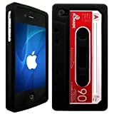 Wayzon Black Apple iPhone 4 4G Case Cover Skin Pouch Silica Rubber In The Shape Of A Cassette