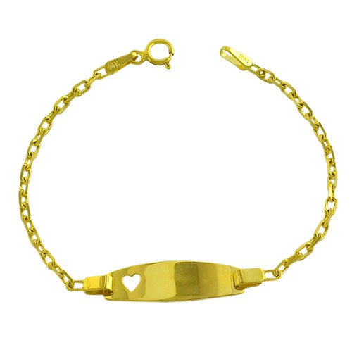 14k Yellow Gold Cable Link Baby Id With Heart Bracelet (5.5 inch)