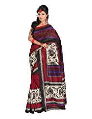 Fabdeal Indian Designer Bhagalpuri Silk Black Printed Saree