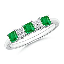 buy Square Emerald And Diamond Cluster Three Stone Ring In Platinum