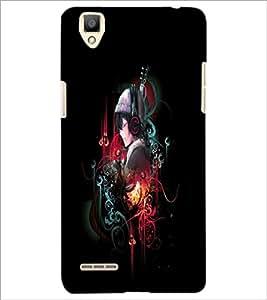 PrintDhaba Music Girl D-4548 Back Case Cover for OPPO F1 (Multi-Coloured)