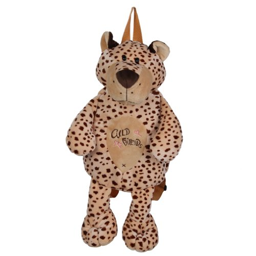 Cute EOZY kids bag animal modeling children's bag plush backpack outing fluffy toy Brown how