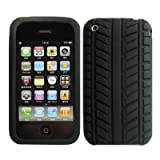 LUPO Apple Iphone 3GS, 3G TYRE TREAD Silicone Skin Case   BLACK phones