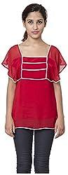 Izna Women's Slim Fit Top (IDWT108RD-X-Small, Red, X-Small)
