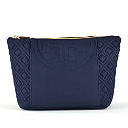 Tory Burch Fleming Large Trapeze Nylon Cosmetic Case Navy
