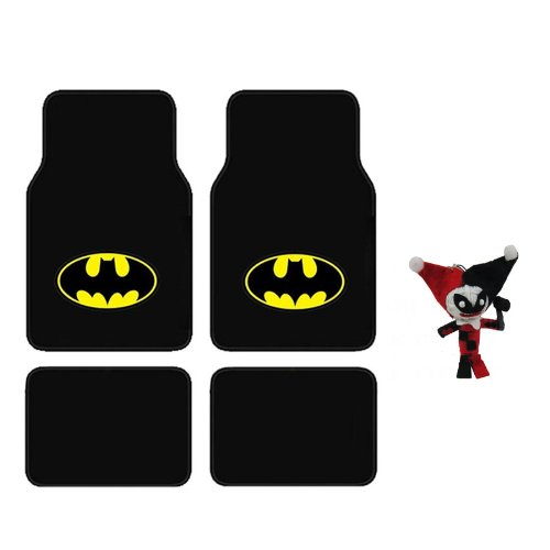 A set of 5 Piece Automotive Gift Set: 2 Front and 2 Rear Floor Mats and 1 String Voodoo Doll - Batman and Harley Quinn (Car Seat Covers Harley Quinn compare prices)