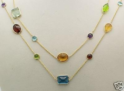 14K Yellow Gold Multi-Shaped Gemstones Necklace 36