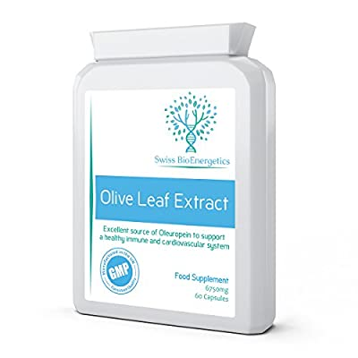 Olive Leaf Extract 450mg ( 6750mg whole leaf equivalent ) 60 Capsules - Containing an Exceptional 20% Active Oleuropein by Swiss BioEnergetics