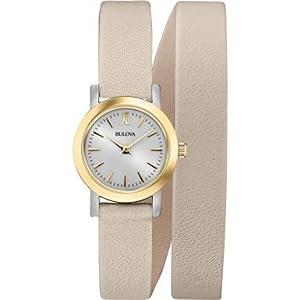 Bulova 98L193 Ladies Dress Cream Leather Strap Watch