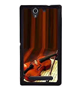 Fuson Premium 2D Back Case Cover Stylish Violin With Multi Background Degined For Sony Xperia C3 Dual D2502::Sony Xperia C3 D2533
