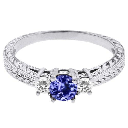 0.56 Ct Round Blue Tanzanite White Sapphire 14K White Gold 3-Stone Ring