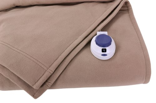 Soft Heat Luxury Micro-Fleece Low-Voltage Electric Heated Throw, Beige