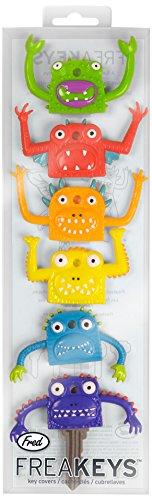fred-fr1477-coprichiave-a-forma-di-testa-di-mostro-set-da-6-pezzi-colori-assortiti