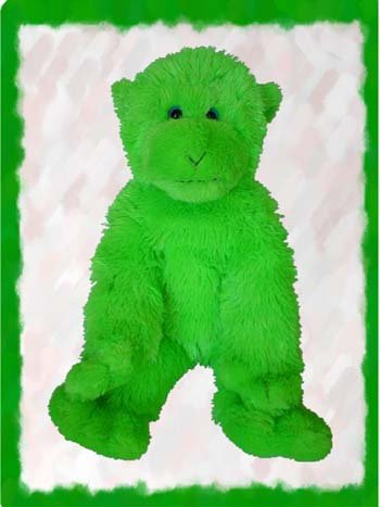 "15"" Lime Green Monkey Make Your Own *NO SEW* Stuffed Animal Kit w/T-shirt"
