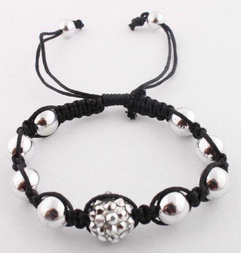 Silver Disco Ball Adjustable Bracelet Macrame Shamballah