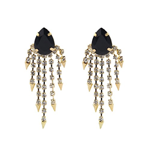Tingem Women's Fashion Retro Icicle Flowers Tassels Gem Earrings (Black)