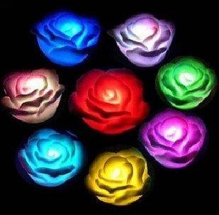 Eshop 3Pcs 7 Colors Changing Rose Flower Led Light Night Candle Light Lamp Romantic+ Eshop Cable Tie