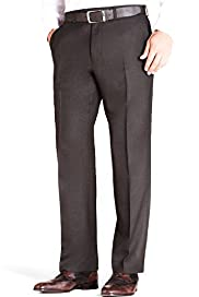 Sartorial Pure Wool Flat Front Straight Fit Twill Trousers