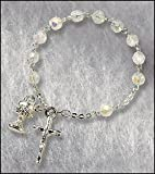 Catholic Girls Rosary Bracelet First Communion Rosary Bracelet, Material: Glass 6 Mm Bead/silver Plate Size: 7″ L