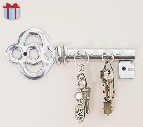 Decorative Wall Mounted Key Holder | Multiple Key Hooks Rack | Hand Cast Aluminum | Vintage Theme | Polished Finish | with Screws and Anchors - By Comfify (Vintage 3 Hooks AL-1507-03)
