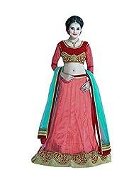 Viva N Diva Women's Red color Net Lehenga.