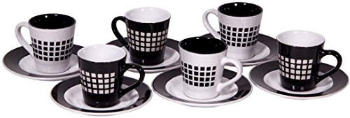 2.7 Oz Demitasse Stoneware Cups And Saucers Set Of 6, Black And White