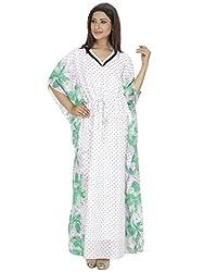 Saashiwear Women's Printed Polka dots Kaftan Green