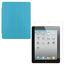DMG Ultra Slim Magnetic Smart Shell Stand Cover Case for Apple iPad 2/3/4 (Light Blue) + Tempered Glass Screen Protector