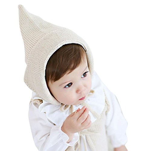 Baby Knitted Hats, Misaky Toddler Boy Girl Cap Crochet Solid Beanie Warm Cap (beige)
