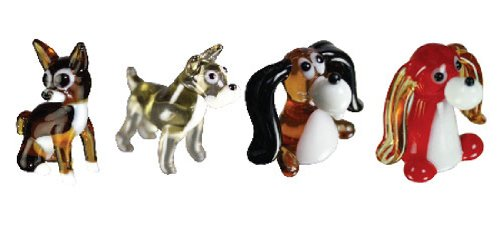 Looking Glass Miniature Collectible - Chihuahua/Schnauzer/Beagle/Long Ear Dog (4-Pack)