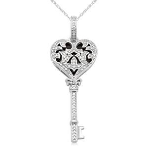 "10k White Gold with Black Enamel Heart Key Diamond Pendant Necklace (1/4 cttw, I-J Color, I2-I3 Clarity), 18"" by Amazon Curated Collection"