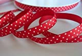 "50 yards Red/White Swiss Polka Dots Grosgrain 3/8"" Ribbon 9mm/Craft/Supply R79-01 US Seller Ship Fast"