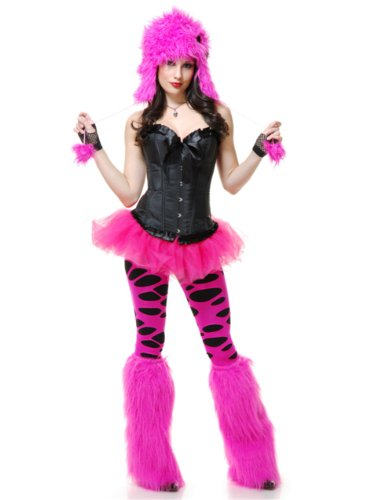 Adults Womens Hot Pink Sexy Club Rave Furry Monster Leg Warmers