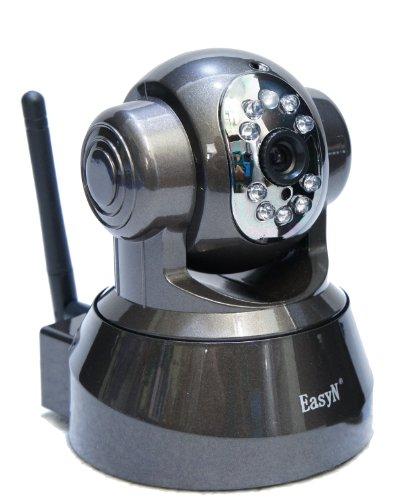 実用性十分 赤外線LED搭載 パンチルト型IPカメラ メタリックグレー
