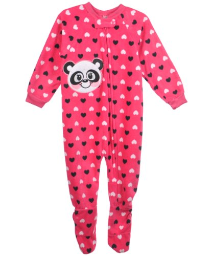 "Mon Petit ""Panda & Hearts"" Footed Pajamas - Fuchsia, 4T back-1078239"