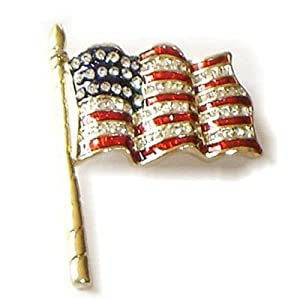 Beautiful American Flag Austrain Crystal Pin or Brooch