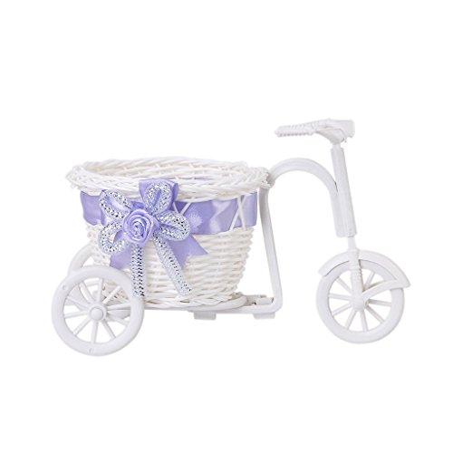 Sonline Triciclo biciclette Cestino vimini vaso di fiore per regalo decorazione