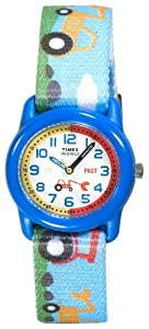 Timex Kids' T7B611 Time Teacher Blue Tractors Stretch Band Watch
