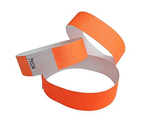 500 Braccialetti Tyvek numerato ampia misua - arancio neon